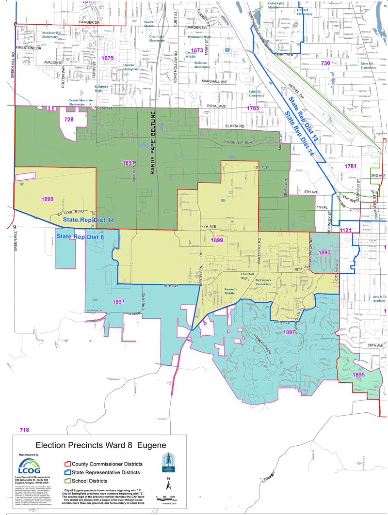 Eugene Precincts Ward 8 map as pdf