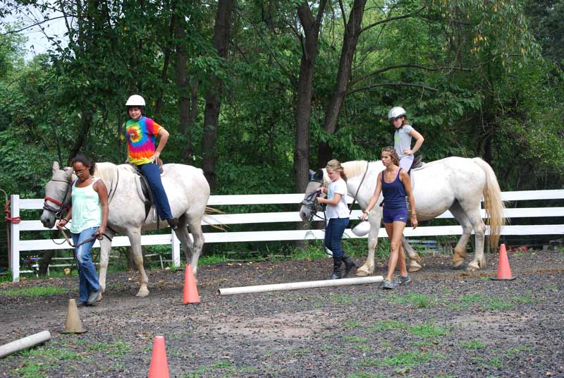 Kids riding horses during birthday party