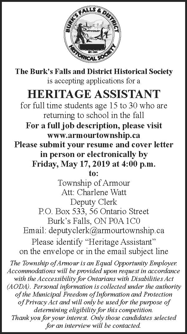 2019 Summer Heritage Assistant