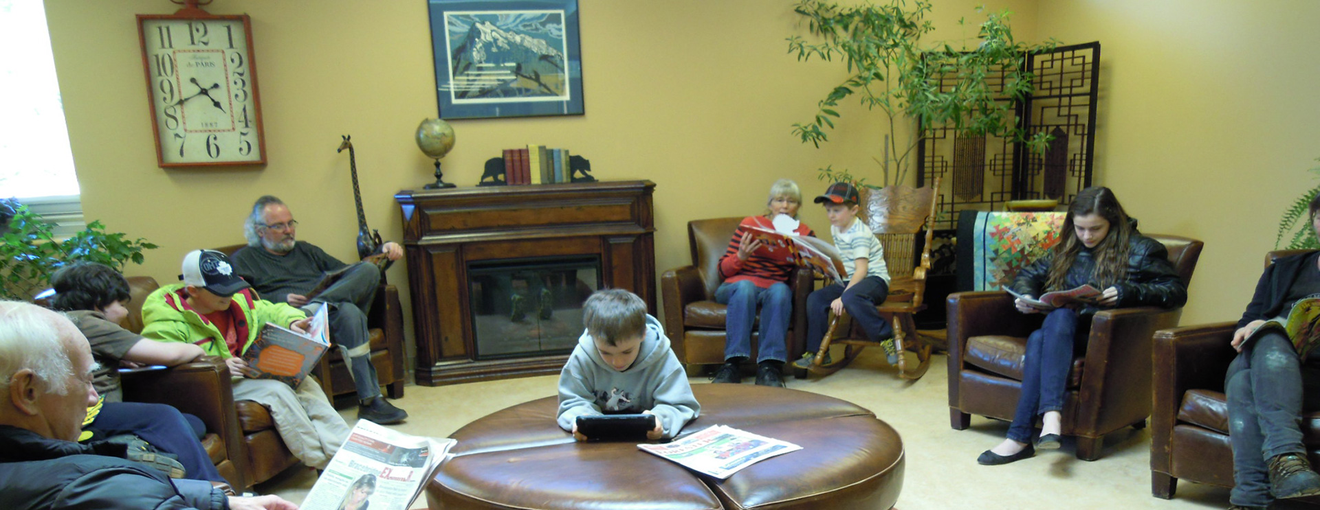 Group of people enjoying reading at the Baysville Public Library
