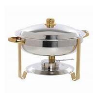 Gold Trim Round Chafer rentals