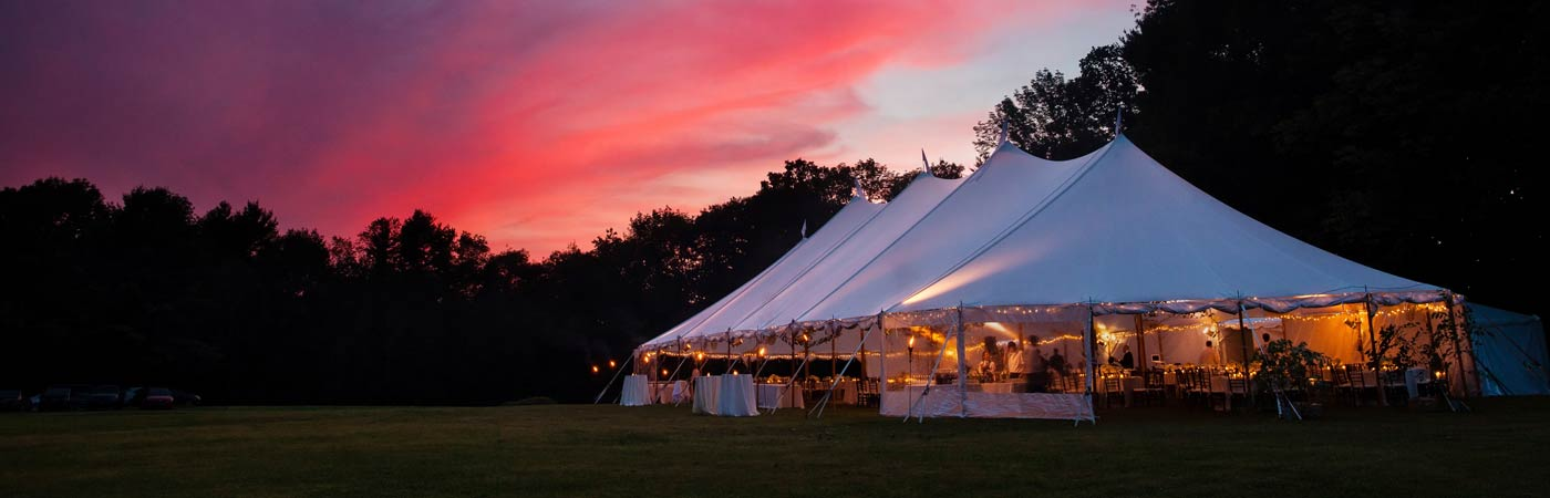 Tent rental for wedding reception at night