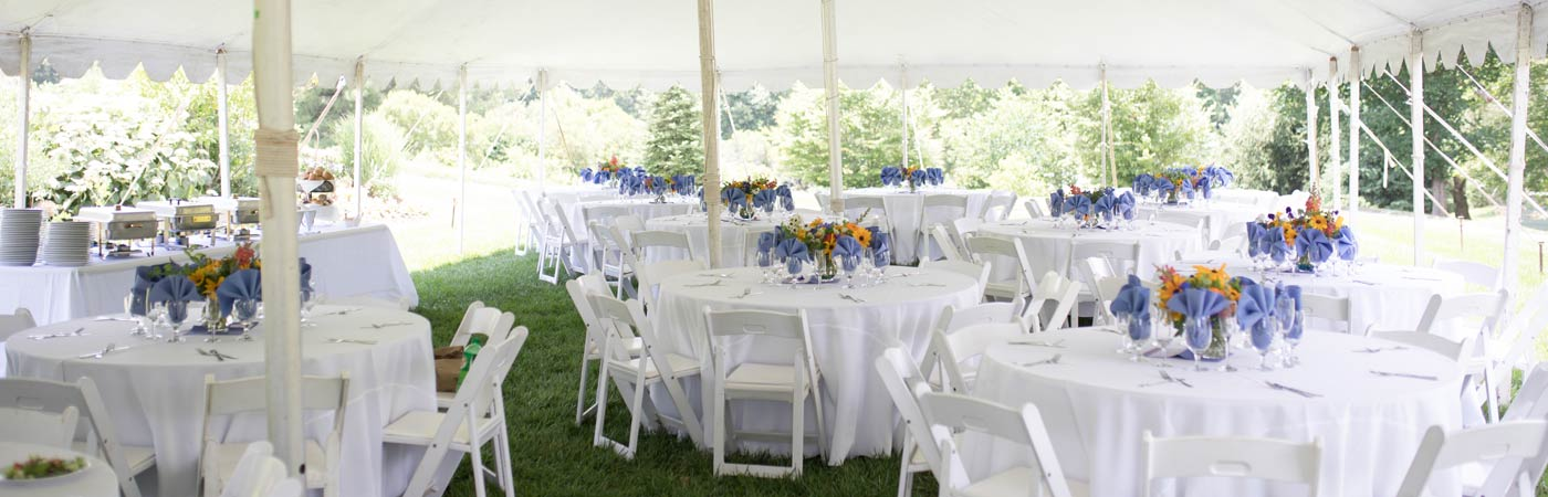 Table and chair rentals under tent