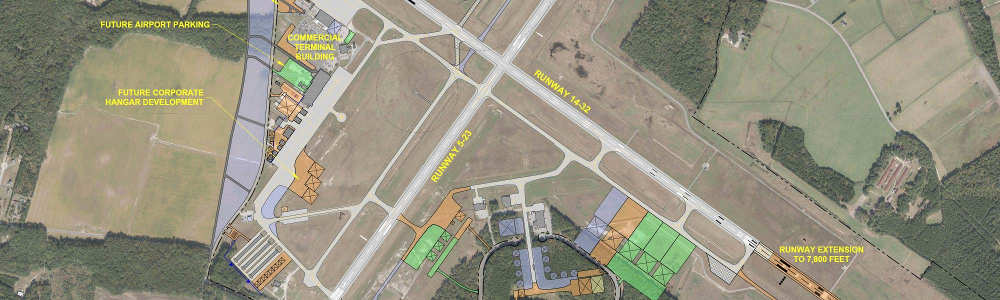 Over head view of Salisbury Regional Airport area and runway layout