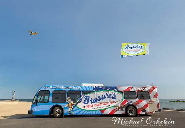 Brasures ad on OC bus and airplane banner