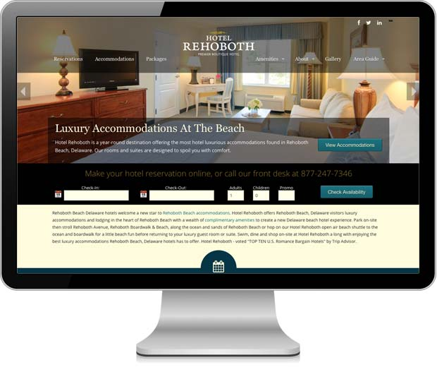 Hotel Rehoboth website pictured in an iMac