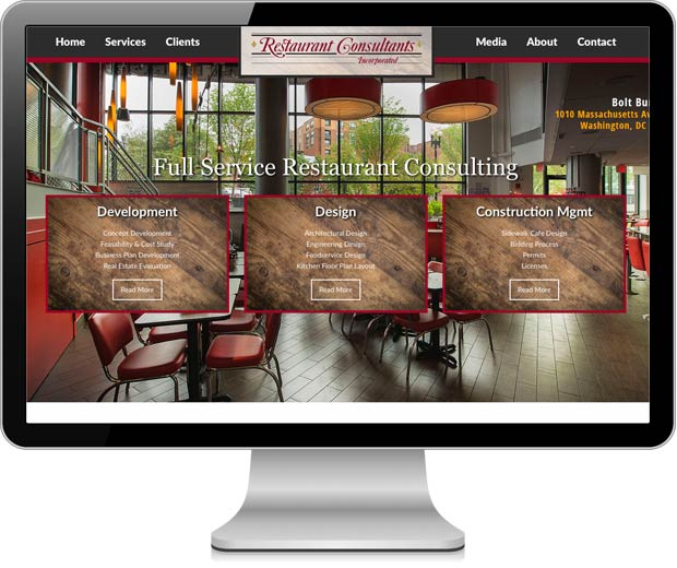 Restaurant Consultants website pictured in an iMac