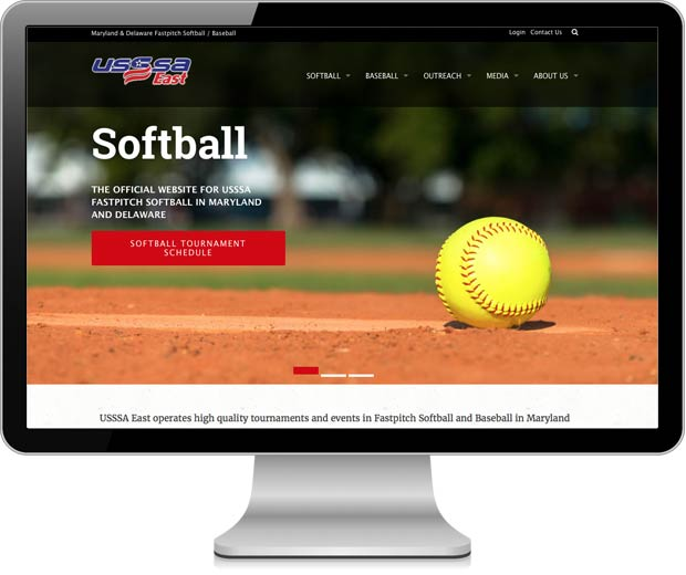 USSSA East website pictured in an iMac