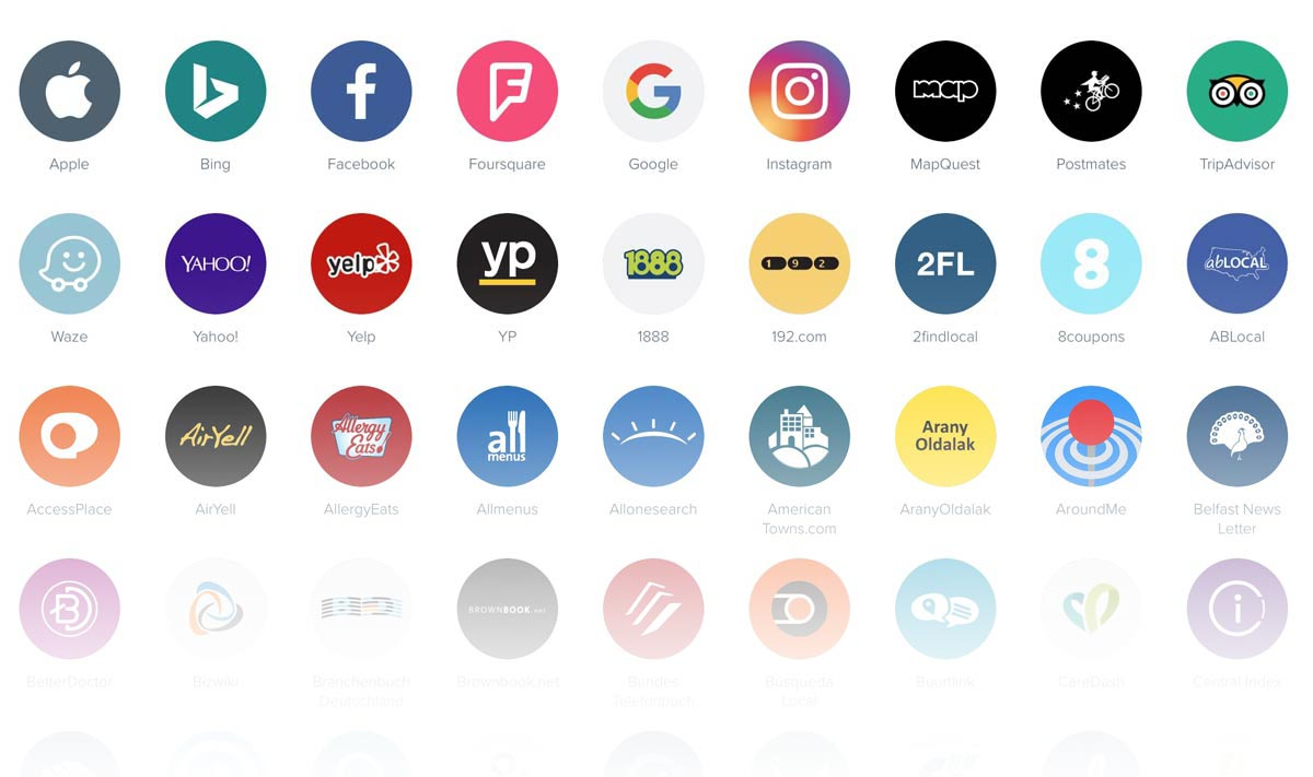 Search engine icons in a grid that fade to white at the bottom