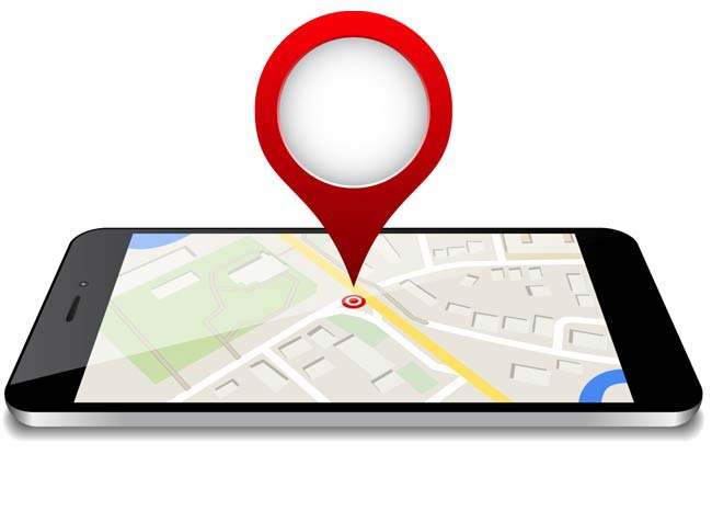 person searching business location on mobile phone