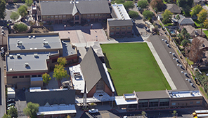 Aerial view of Christ Lutheran School from above