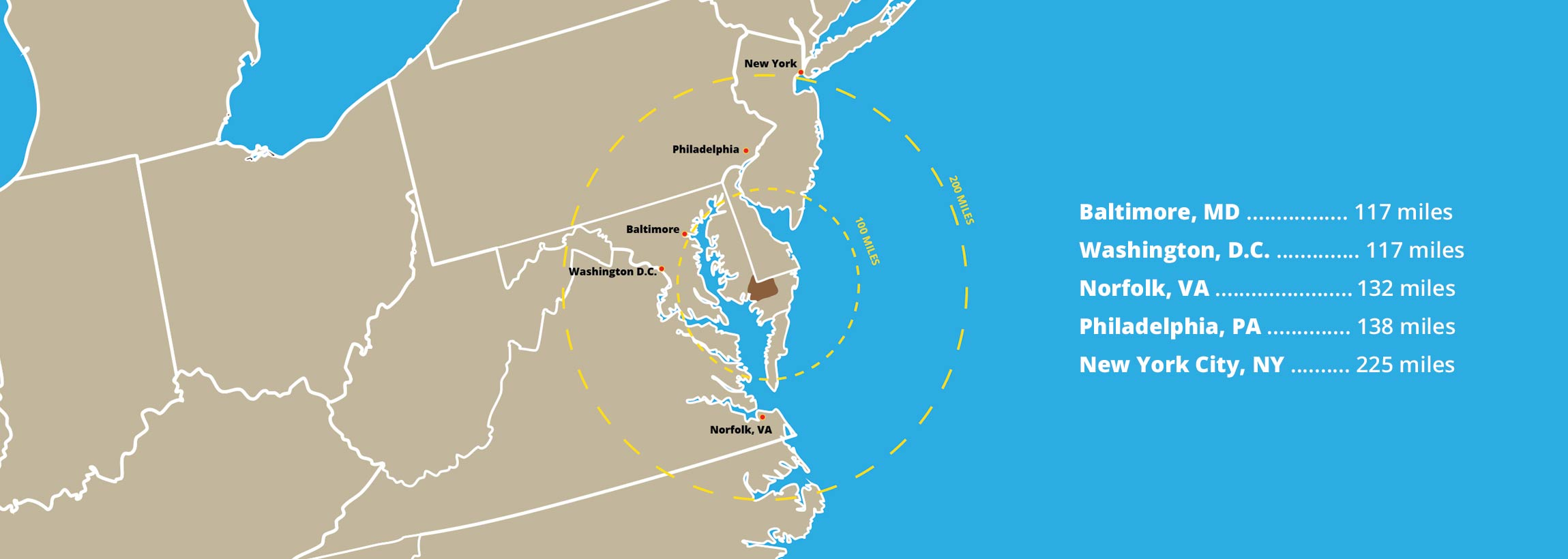 Wicomico County Maryland location on the East Coast