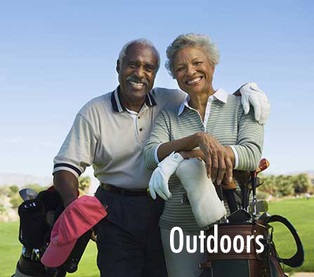 Test Hearing Aid outside playing golf