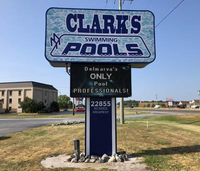 Clarks Swimming Pools road sign