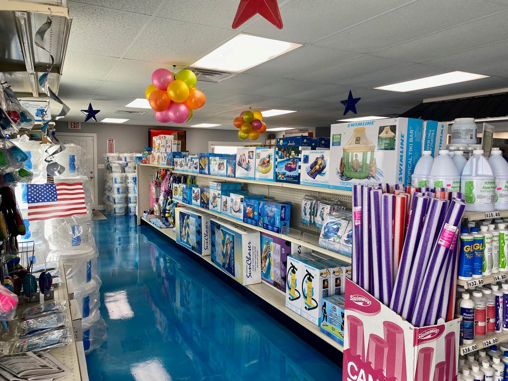 various pool toys on our shelves