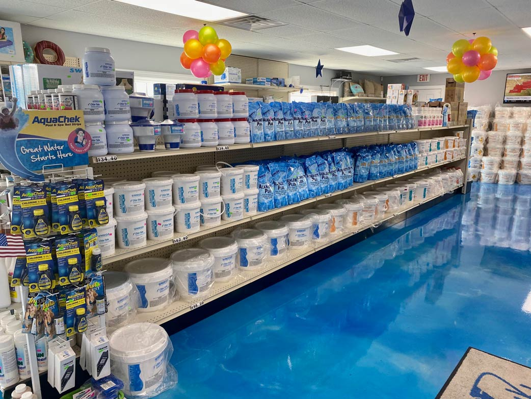 various pool maintenance supplies on our shelves
