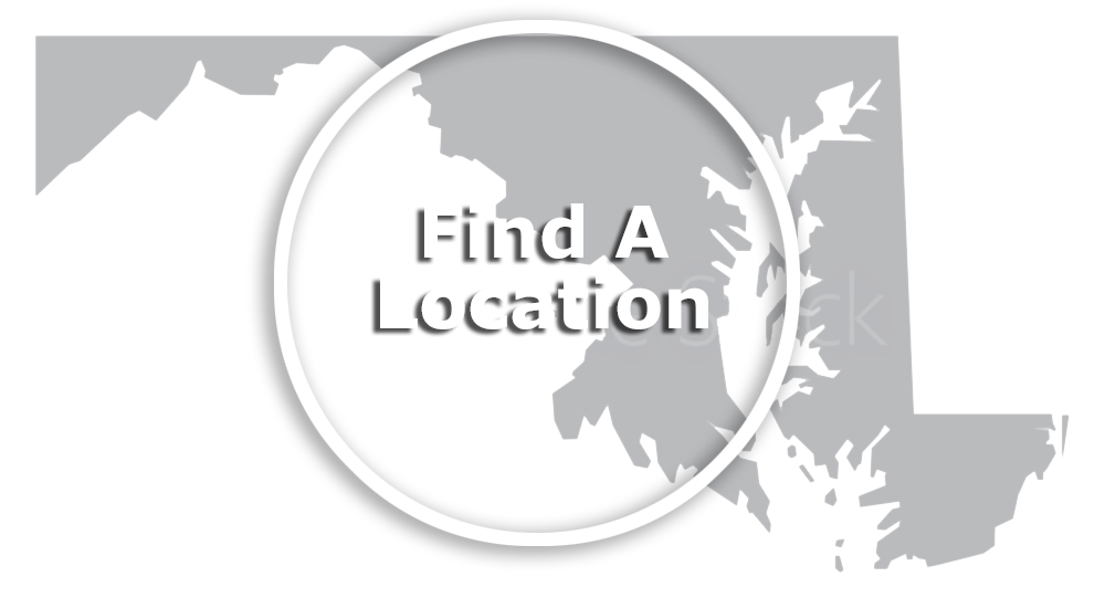 Find A Location text over Maryland map image