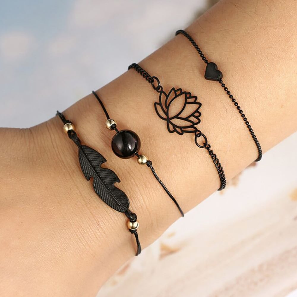 Punk Knot Love Letter Circle Bracelet Set Valentines Day Gift Fashion Jewelry 6A