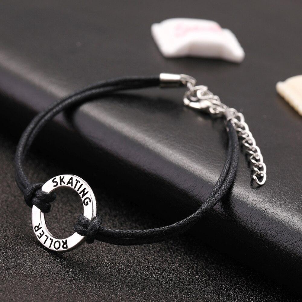 Black Wax Cord Bracelet Skating Roller Charm Word Round Hand-woven Handmade Bracelet Women or Men Jewelry