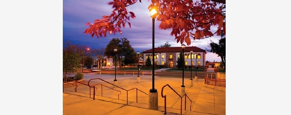 VIEW OF CAMPUS BUILDING WITH FALL FOLIAGE ON TREE