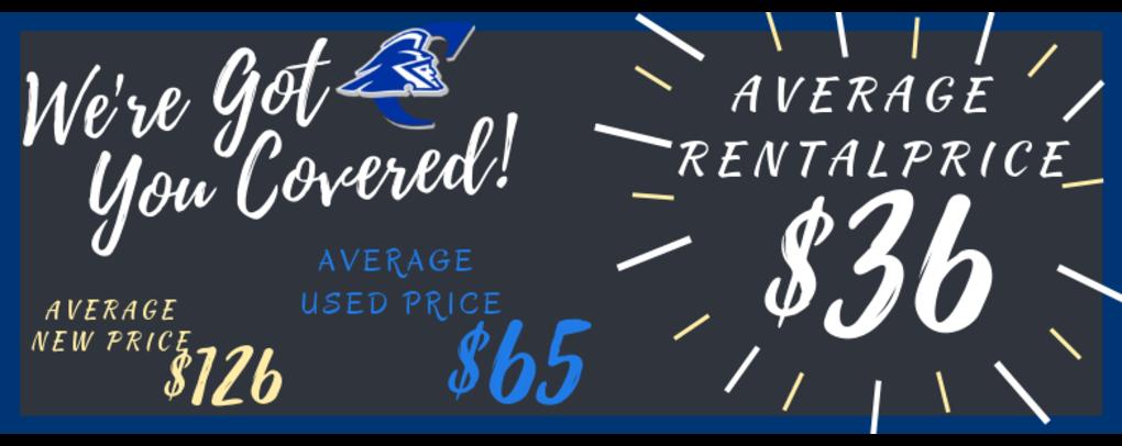 Average New Book Price: $126    Average Used Book Price: $65    Average Rental Book Price:   $36