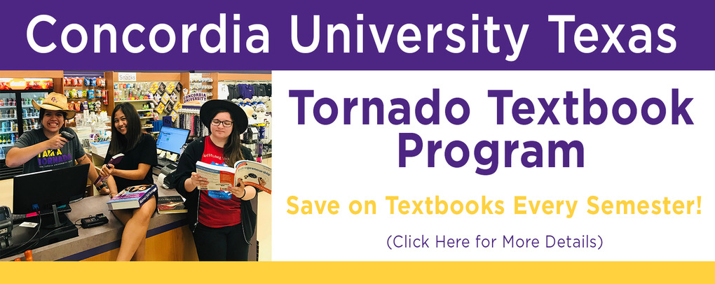 Tornado Textbook Program: save money on textbooks every semester.
