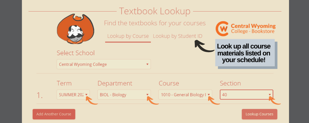 Order all your course materials by inputting your CWC student ID#