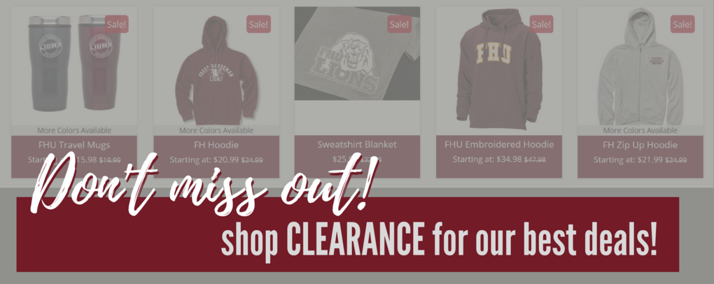 Banner image 2 links to https://fhubookstore.com/merchandise/clearance
