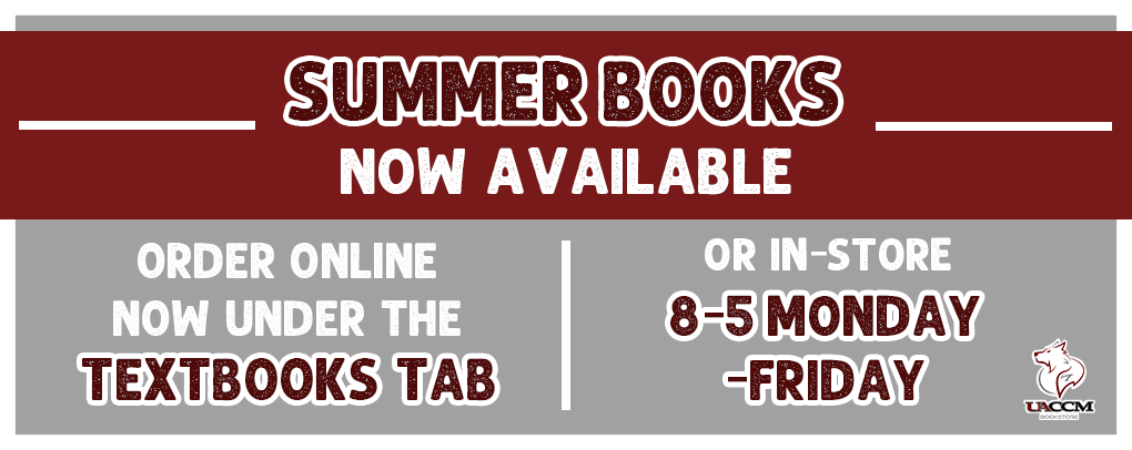 Summer Books now available.  Order online under the textbooks tab or order in store 8-5 Monday-Friday