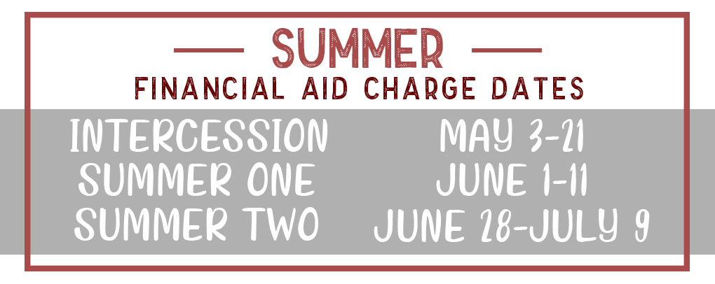 Summer financial aid charge dates: Intercession May 3rd-21st, Summer 1 June 1st-11th, Summer 2 June 28th-July 9th