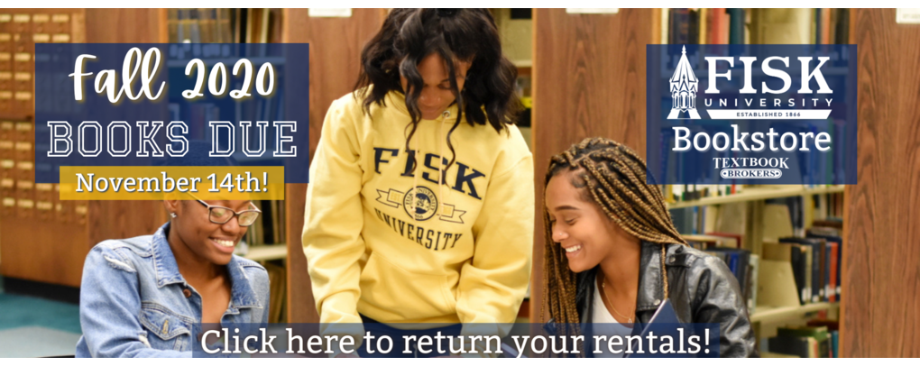 Fall 2020 rentals are due 11/14/20. click here to return your rentals