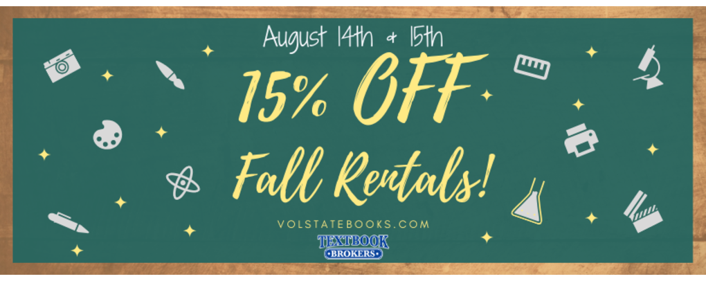 15% off all vol state rentals!