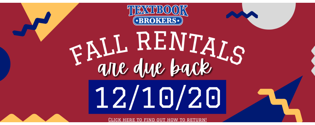 fall rentals are due 12/10/20. click here to view return options!