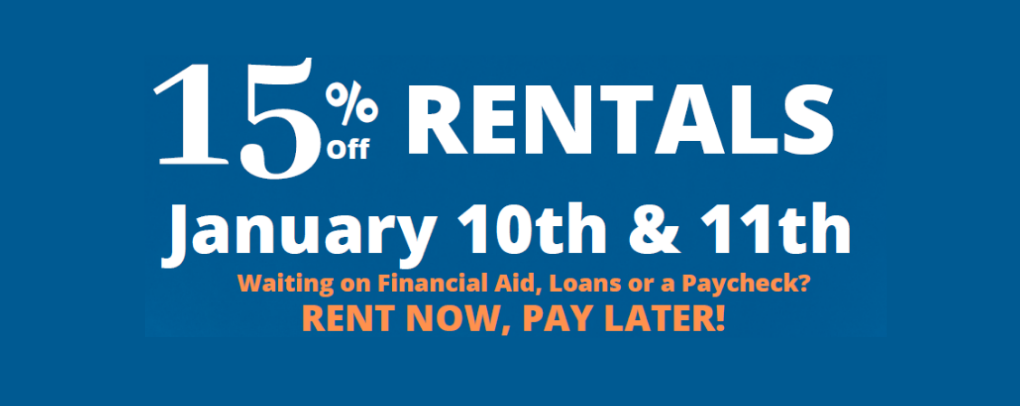 Image that says, 15% off textbook rentals on January 10th and 11th, 2020.