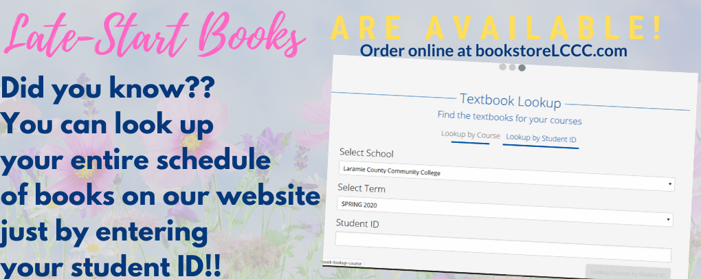 Late start books are available! Did you know? You can look up your entire schedule of books on our website just by entering you student ID!