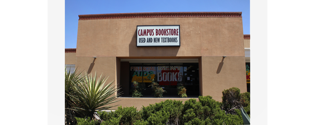 VIEW OF CAMPUS BOOKSTORE SIGN ABOVE DOOR