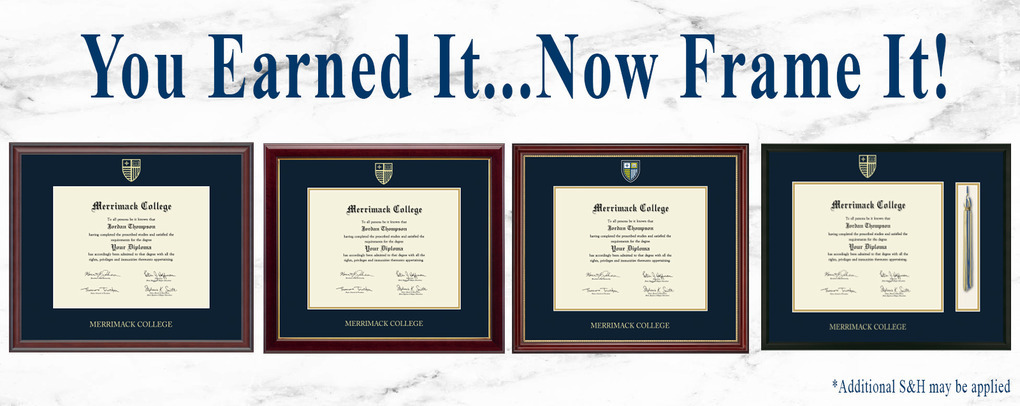 Banner image 5 links to https://merrimack.textbooktech.com/merchandise/diploma-frames