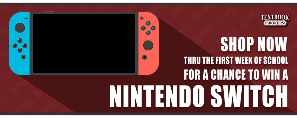 Win a Nintendo Switch. Enter when you shop now, thru the first week of school!