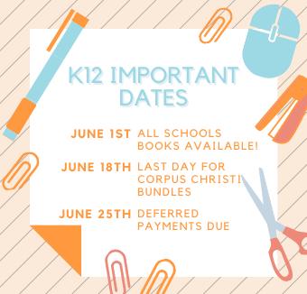 K12 IMPORTANT DATES