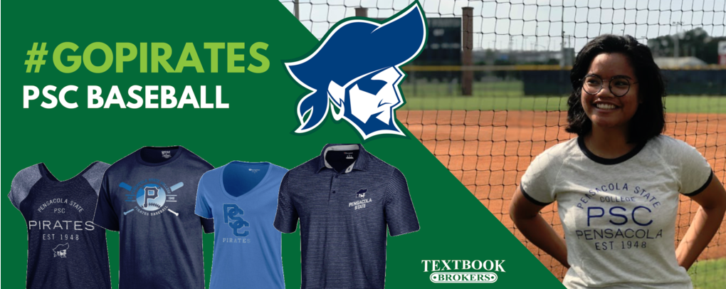 Banner image 0 links to https://psc.textbookbrokers.com/products/pensacola-state-baseball-tee-gear-3730-duuffvylnr
