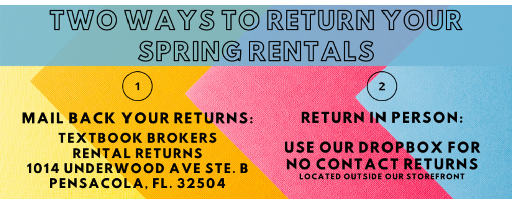Two ways to return your spring rentals: 1. mail them back 2. Use our drop box located at our uwf store