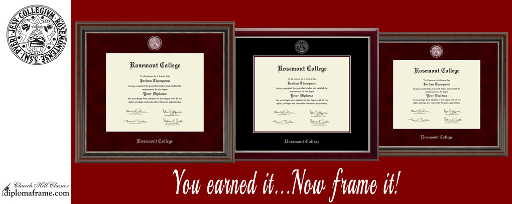 Banner image 2 links to https://rosemont.textbooktech.com/merchandise/diploma-frames