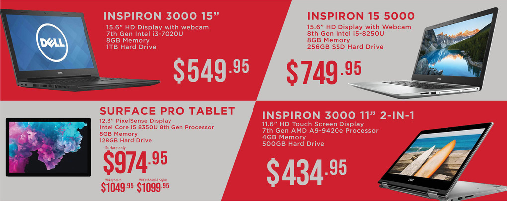 Laptops starting from $439.95 up to $1099.95.  Click for link to laptops page.