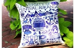 A pillow covered in pictures of UCA related things from the surrounding area