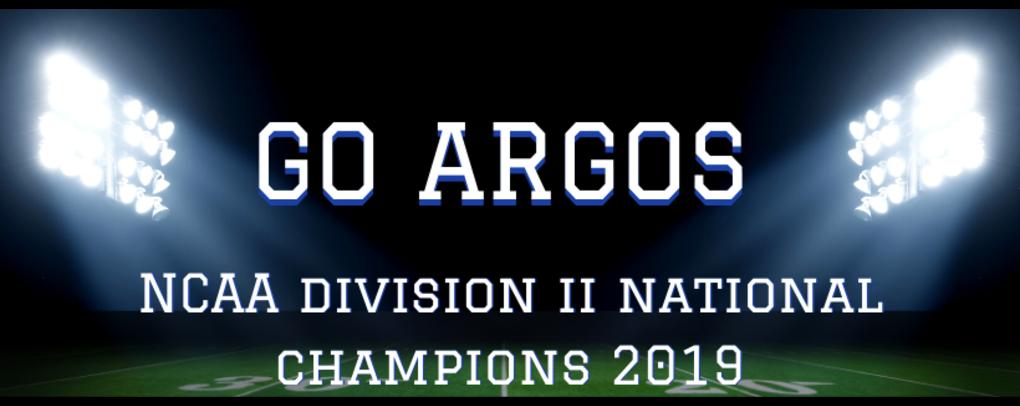Go Argos NCAA Division 2 National Champions 2019