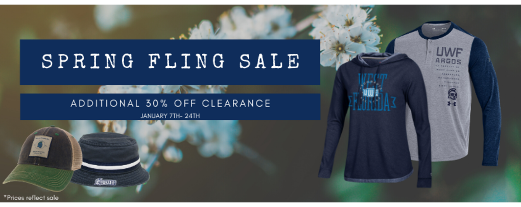 Spring Fling Sale additional 30% off clearance items January 7th-24th. *Prices reflect sale