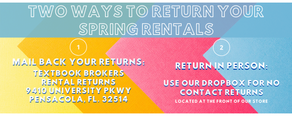Return your spring rentals using our on location drop box, or mail them back to us