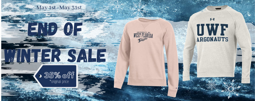 Banner image 0 links to https://wfl.textbookbrokers.com/merchandise/end-of-winter-sale