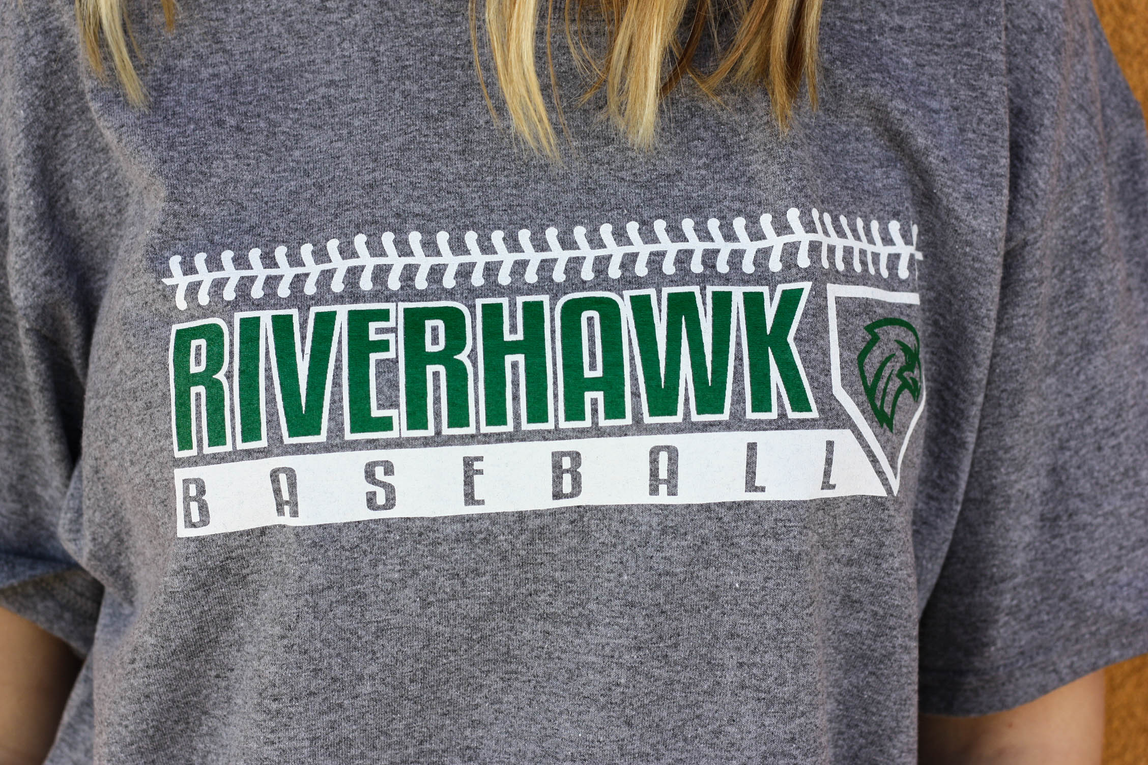 Grey Riverhawk Baseball T-shirt