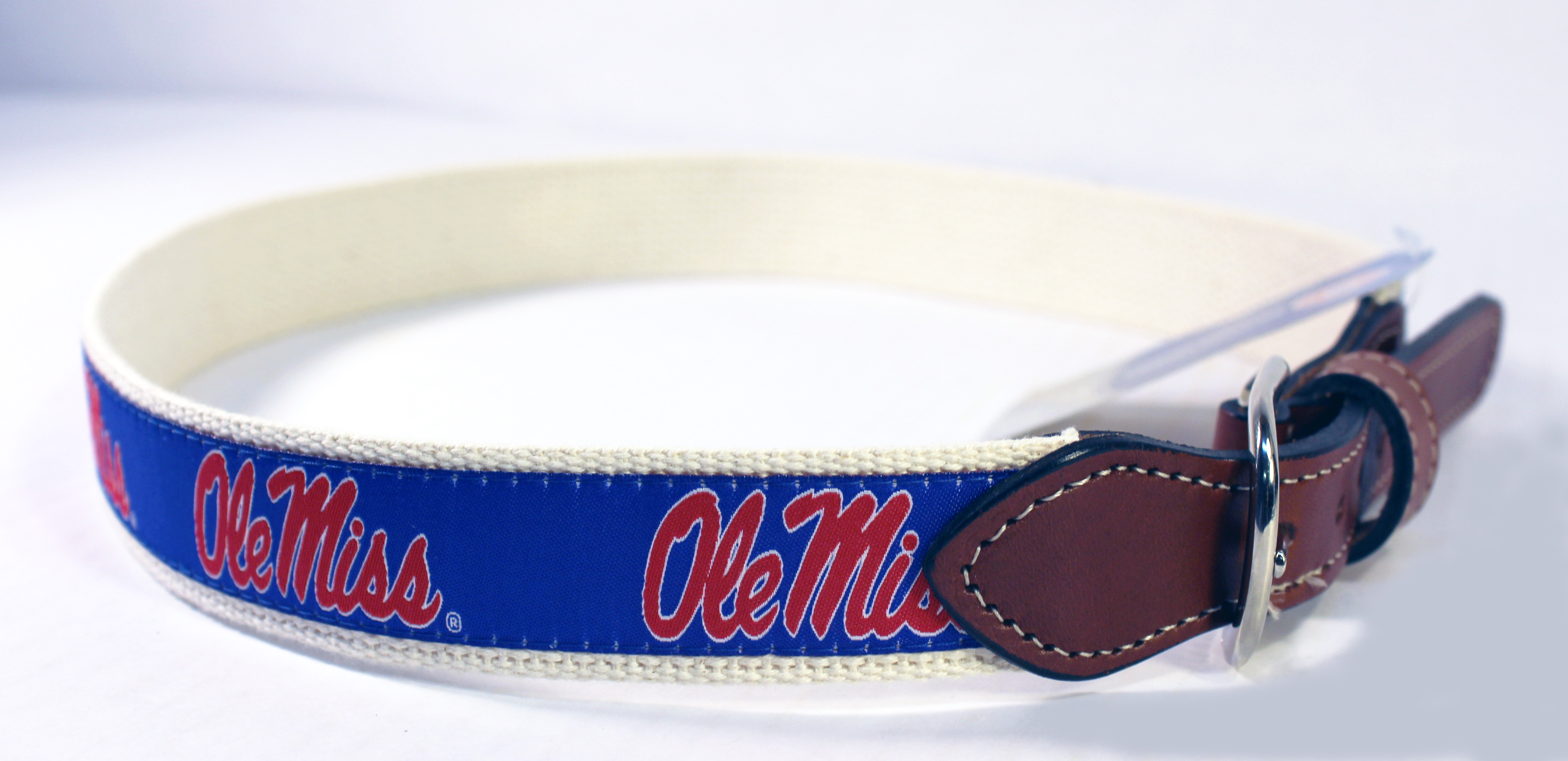 Blue Ribbon Belt with Ole Miss Script